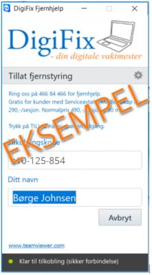 DigiFix Fjernhjelp eksempel